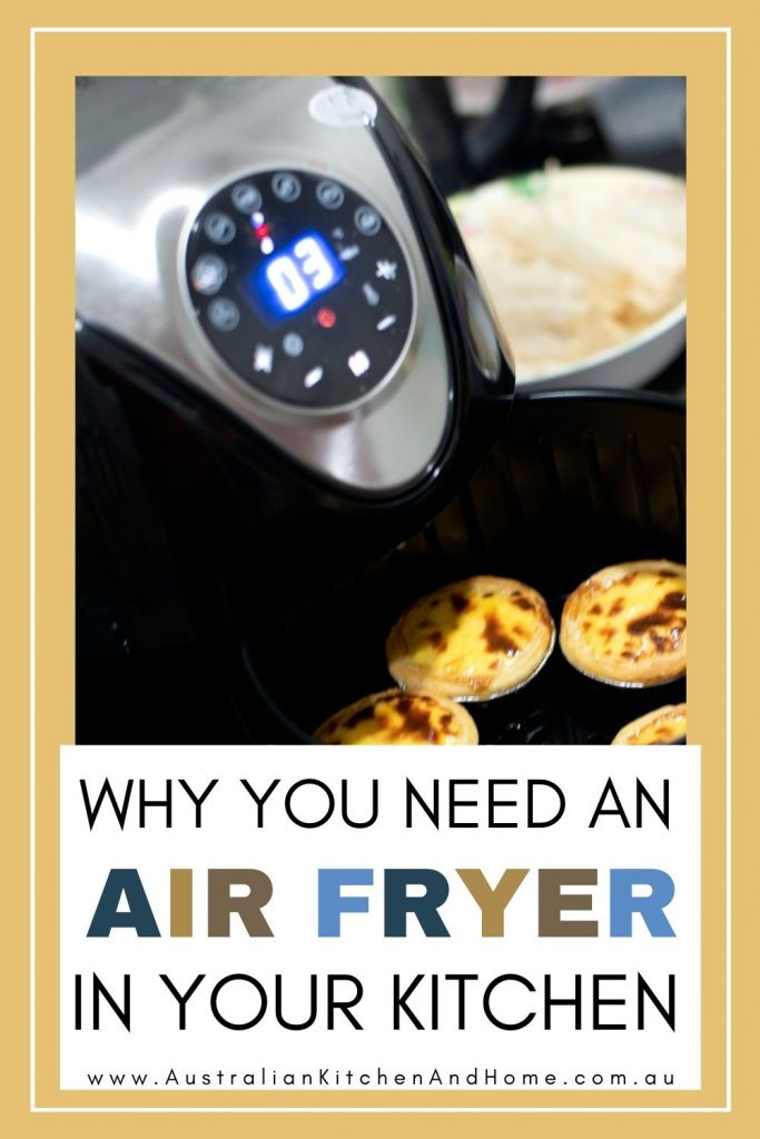 pin image of the best air fryer australia has to offer with some freshly cooked egg tarts