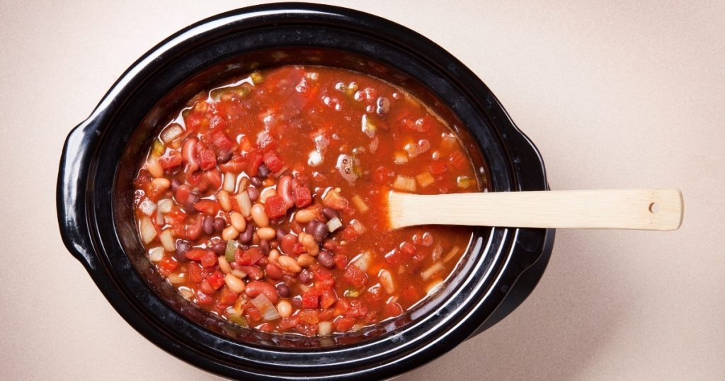 an image of the best slow cooker cooking chili