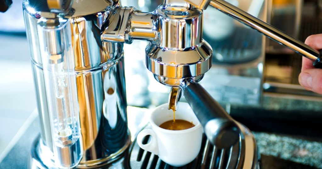 an image of the best home espresso machine brewing some coffee