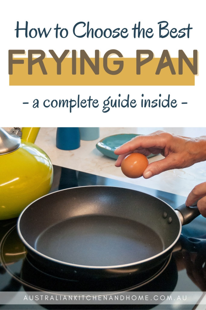 """Pin image with text """"how to choose the best frying pan"""" and an image of someone cracking an egg into a pan"""